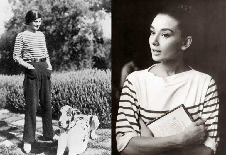 Coco Chanel (left) and Audrey Hepburn (right) in stripes. Via Jadorais.